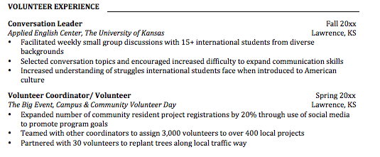 volunteering u2014the extra boost your resume needs  u2013 ku